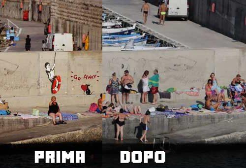 """Castro rimosso l'ultimo capolavoro di Banksy al porto. Sgarbi: """"Un danno alla bellezza"""""""