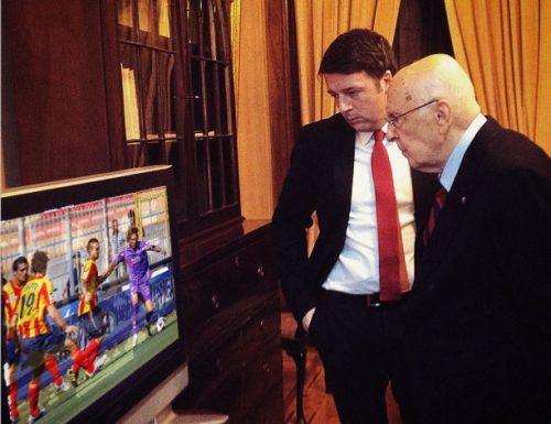Elezione Presidente: mentre si contano i voti Renzi guarda Lecce-Fiorentina con Napolitano
