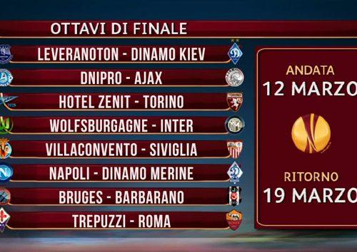 Sorteggio Europa League: derby Trepuzzi-Roma! Sorride il Napoli con la Dinamo Merine