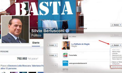 Crisi Forza Italia: Silvio Berlusconi cancella Fitto dagli amici di Facebook