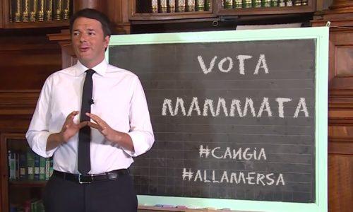 Matteo Renzi spiega alla lavagna perchè in Salento bisogna votare Mammata