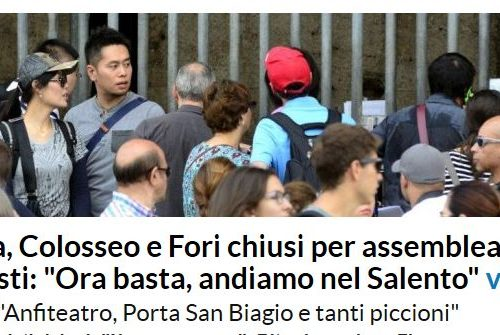 Colosseo chiuso, i turisti romani minacciano di venire in Salento