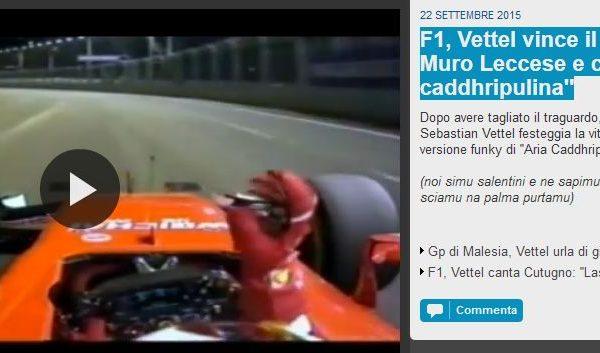 """F1, Vettel vince il GP di Muro Leccese e canta: """"Aria caddhripulina"""""""