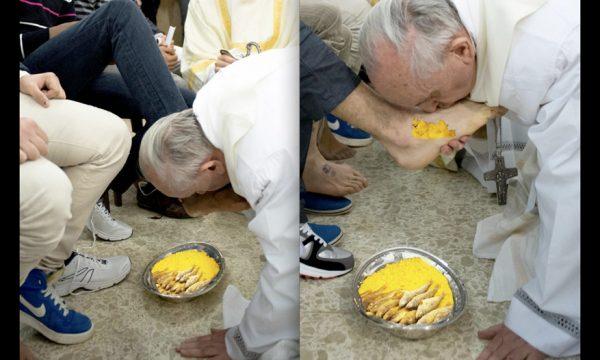 """Papa Francesco e il rito """"salentino"""", lava i piedi agli americani nella scapece"""