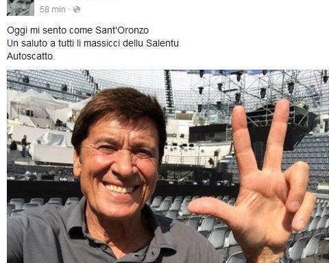 Continua il feeling tra Gianni Morandi, la leccesità e Sant'Oronzo