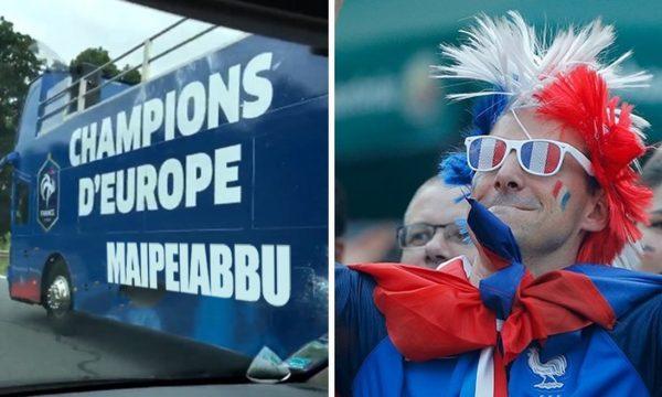 Euro2016: Il pullman della Nazionale Francese celebra lu Iabbu