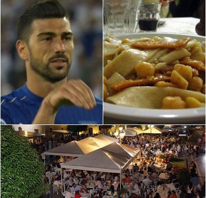 Graziano Pellè ci ricasca e fai il gesto del cucchiaio a un piatto di Ciceri e Tria